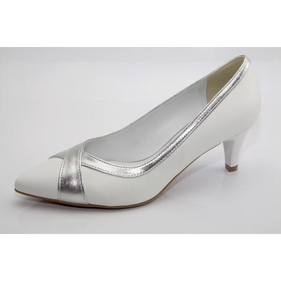 Fehér-ezüst menyasszonyi cipő Ilze