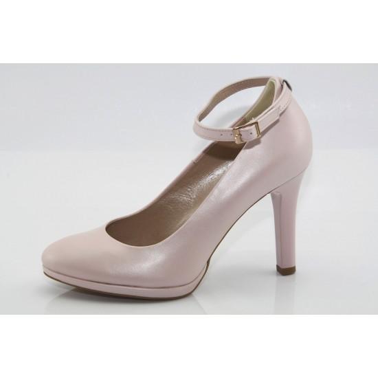 Púder színű gyöngyház fényű platformos alkalmi bőr cipő Zara